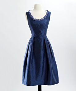 Cobalt blue shantung cocktail dress with scoop neck with inset organza ruffle and pleated skirt