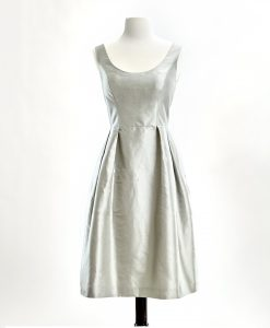 Silver shantung dress with scoop neck and pleated skirt
