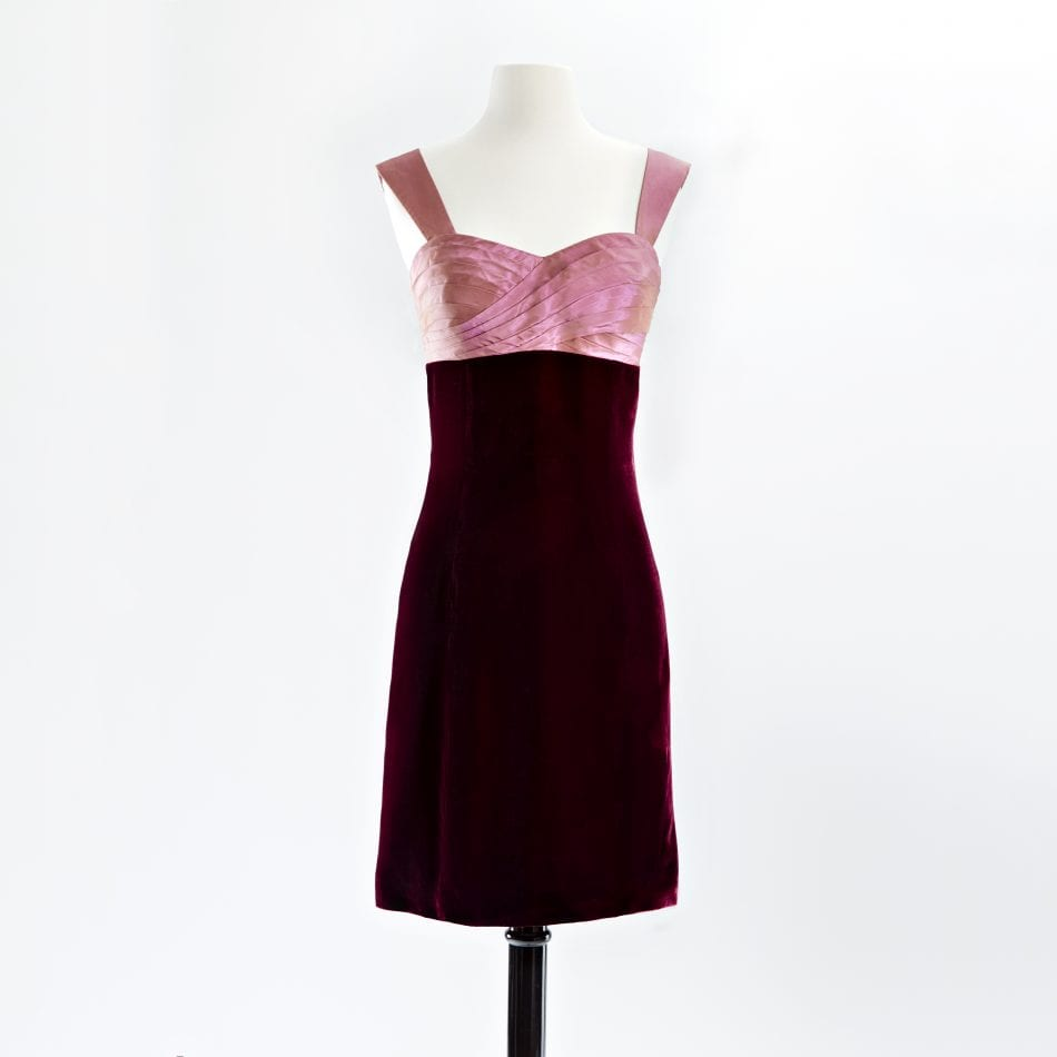 Cocktail dress with hand pleated rose taffeta bodice and wine velvet skirt with cap sleeves