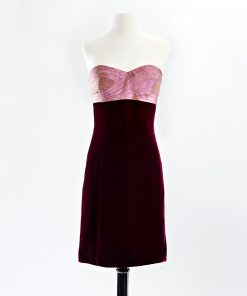 Cocktail dress with hand pleated rose taffeta bodice and wine velvet skirt
