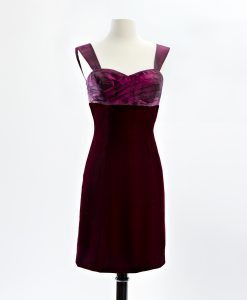 Cocktail dress with hand pleated wine taffeta bodice and velvet skirt with cap sleeves