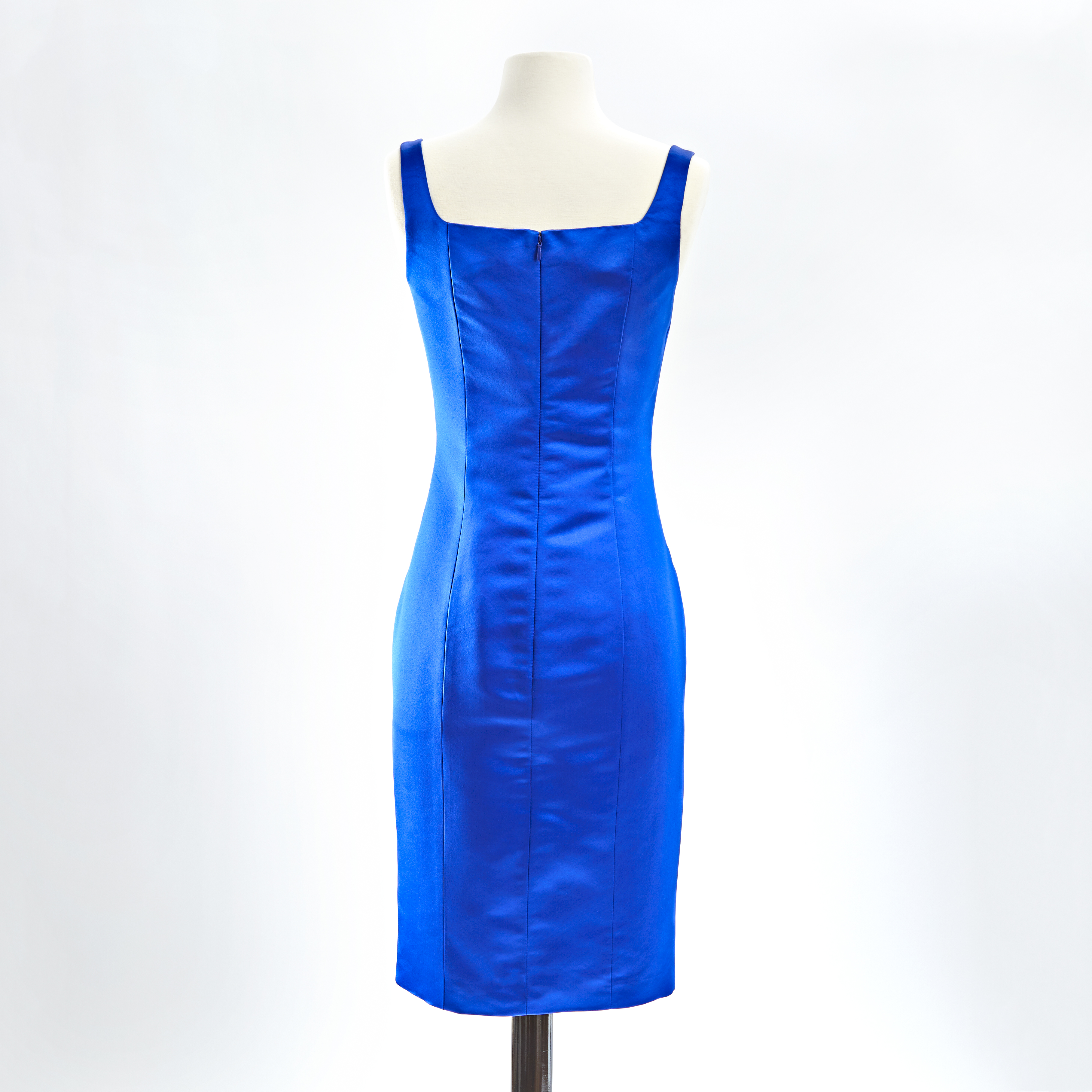 Sapphire blue duchess silk satin square neck sheath cocktail dress back view