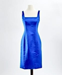Sapphire blue duchess silk satin square neck sheath cocktail dress