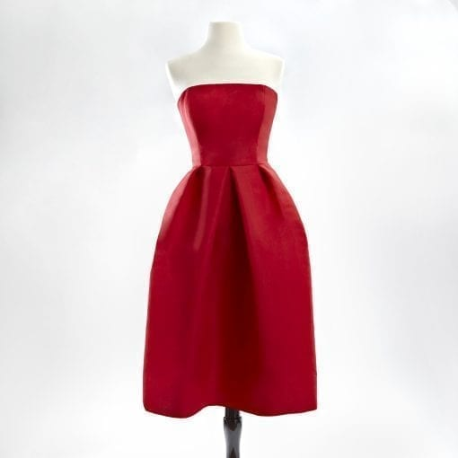 Red strapless silk faille cocktail dress with a full skirt