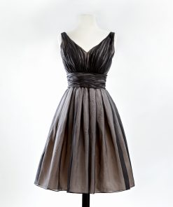 Black silk organza v-neck cocktail dress with full skirt and pink taffeta underskirt