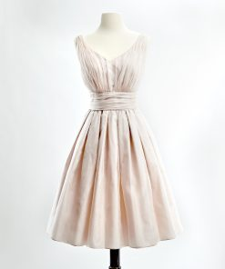 Blush silk organza v-neck cocktail dress with full skirt