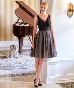 Silk black organza v-neck cocktail dress with full skirt and pink underskirt