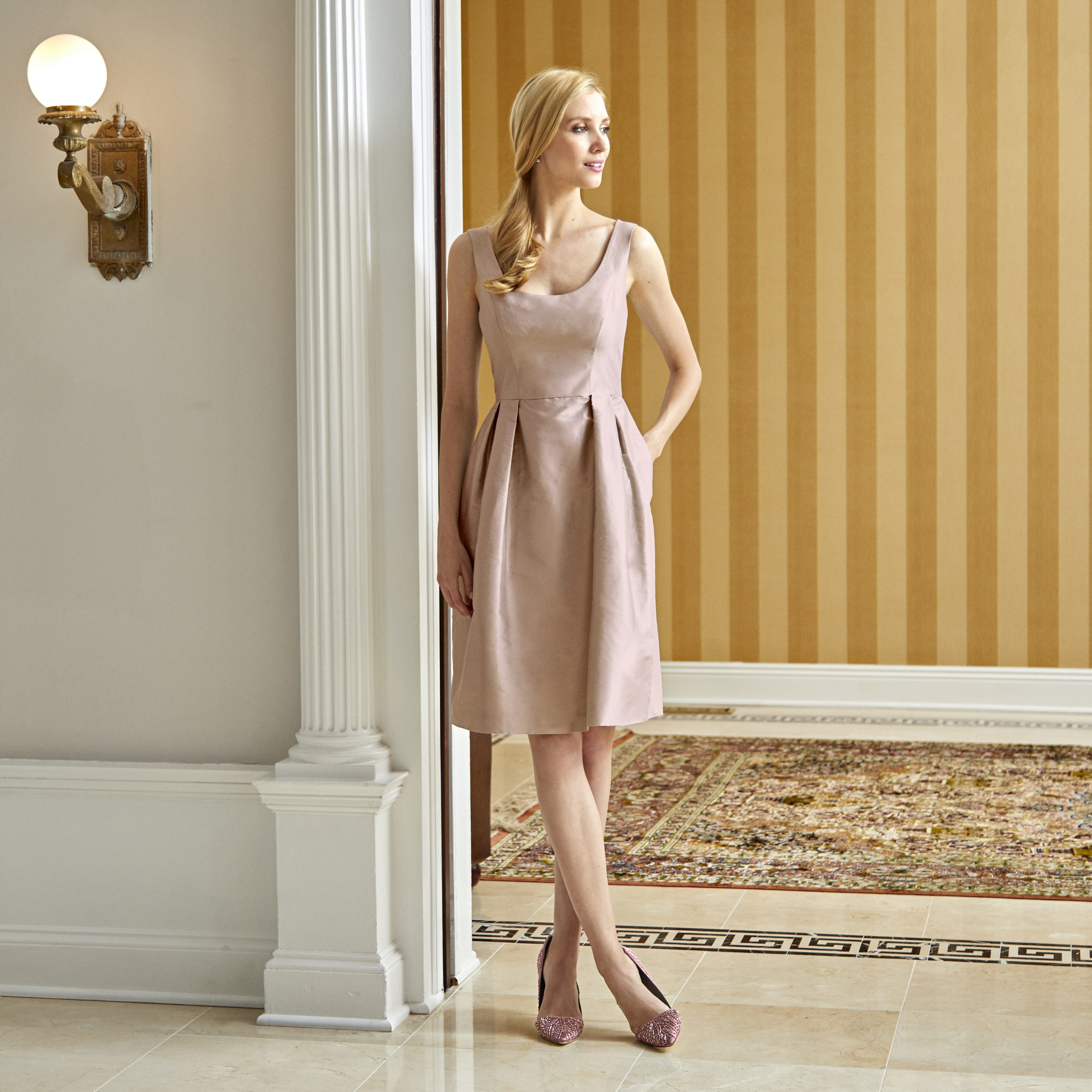 Camellia Silk Dress in Blush