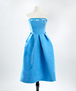 Blue silk faille strapless silk cocktail dress with woven ribbon detail in light blue and a full skirt